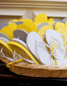 flip flops in yellow. What a great shower favor for all time.