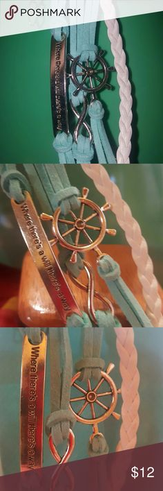 Change your course Where there's a will there's a way ....  Infinity symbol of Endless Love  Ship Wheel control your own destiny, a device to change the course.  Teal blue    $12 each Buy 2 /$18 Buy 3 /$25 Buy 4 /$30 and 1 FREE Jewelry Bracelets