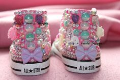 Custom Made to Order OOAK High Top Converse by GlitzNPearlsDesigns, $125.00  These are an example of styles I can make for this price! Click on the link for more pics and info  Pearls, Swarovski crystals, ab, bows, roses, flowers, hearts, girlie, toddler chuck taylors, chucks, kicks, kick game