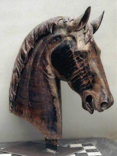 copper Horse head sculpture