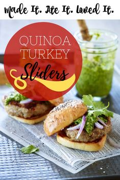 I love anything mini. So naturally I love little sliders. Also with young kids in my home sliders are more made than full size sandwiches/burgers/or in this case turkey burgers! So when I was sent this quinoa turkey slider recipe I couldn't help but drool over the list of ingredients! They are jam packed with favor especially when paired with Honeysuckle White ground turkey.   Click for the recipe Turkey Sliders, Turkey Burgers, My Favorite Food, Favorite Recipes, Slider Recipes, Delicious Sandwiches, How To Cook Quinoa, Appetizer Recipes, Appetizers