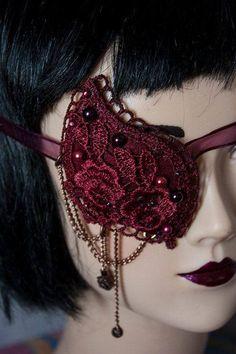 Cunene Eyepatch victorian gothic pirate Burgundy Wine Lace and pearls Steampunk Pirate, Steampunk Wedding, Steampunk Spats, Lolita Fashion, Gothic Fashion, Granada, Lolita Goth, Lolita Style, Dragon Princess