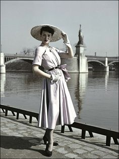 """Dior's """"New Look"""" and La Statue de la Liberté, By Combat Photographer Robert Capa, 1948"""