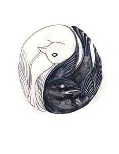 New Ideas for black art tattoo ideas yin yang Love Bird Tattoo Couples, Bird Tattoo Men, Bird Tattoo Meaning, Bird Tattoo Wrist, Cat Tattoo, Tattoos With Meaning, White Bird Tattoos, Black Art Tattoo, Yin Yang Tattoos