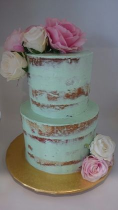 Naked cake mint green and florals  #birthday #birthdaycakes #cakes #celebration  Cake Central Sydney www.cakecentral.com.au