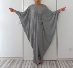 Grey Abaya Dress Queen Maxi Soft elastic by cherryblossomsdress