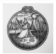 Camping Fashion Decor - - - Youth Camping Logo - Camping Food On A Stick - Pencil Art Drawings, Art Sketches, Outdoor Tattoo, Hiking Tattoo, Catrina Tattoo, Natur Tattoos, Stippling Art, Forest Tattoos, Landscape Tattoo