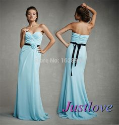 Find More Bridesmaid Dresses Information about Romantic Blue Bridesmaid Dresses 2014 Sweetheart Pleats Handmade Flower Ribbon Sash Long Bridesmaid Gowns Chiffon Formal Dress,High Quality dresses sexy,China dress logo Suppliers, Cheap dress up time prom dresses from Justlove international wedding dress Ltd. on Aliexpress.com
