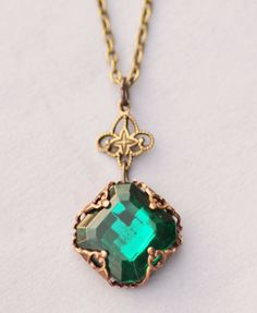 Vintage Emerald Rhinestone Jewel by hangingbyathread1 on Etsy