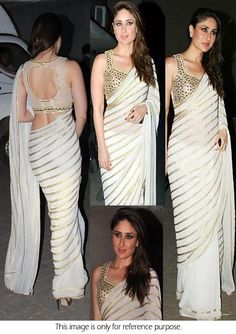 Bollywood Style Kareena Kapoor Chiffon Saree in White color Sari Blouse Designs, Saree Blouse Patterns, Indian Dresses, Indian Outfits, Bollywood Fashion, Bollywood Actress, Bollywood Style, Bollywood Designer Sarees, Chiffon Saree