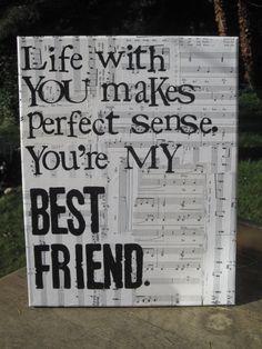 "11x14 ""...My best friend""  Tim McGraw Lyrics, vintage sheet music. $35.00, via Etsy."