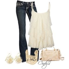 Like the shirt and jeans but would have to have different accessories...