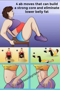 Fitness 4 Ab Exercises That Can Build a Strong Core And Eliminate Lower Belly Fat - In order to help you eliminate belly fat, we have prepared a list of 4 ab moves that can build a strong core. Lower Belly Fat, Lower Abs, Lose Belly, Fat Belly, Belly Pooch, Slim Belly, Ab Moves, Workout Bauch, Abs Workout For Women