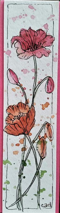 Watercolor. .. Poppy bookmark