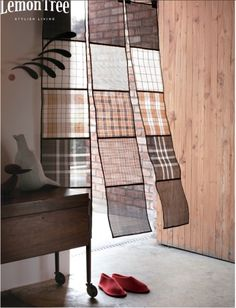 plaid squares sewn together for window treatments Cafe Interior, Interior And Exterior, Patchwork Curtains, Interior Decorating, Interior Design, Curtain Designs, Window Coverings, Window Panels, Window Treatments