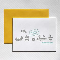 We Heart Paper, Letterpress, Stationery, Greeting Cards, Monsters and Cake, Happy Birthday
