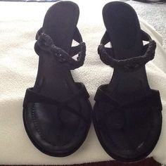 """COLE HAAN THONG SANDALS 3-1/2"""" wedge Cole HAAN thong sandal.  Beaded, braided strap across vamp.  Very attractive, makes legs look fabulous. Cole Haan Shoes Sandals"""