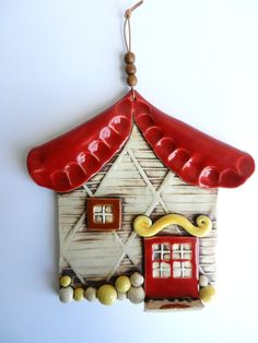 ceramic house, clay house, pottery house, house hanging, fairy house, red barn