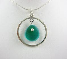 Aqua and green English sea glass multi color necklace by Nancy Allen