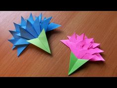 How To Make Easy Paper Flowers For Greeting Card Handmade Decoration. Origami Carnation - YouTube
