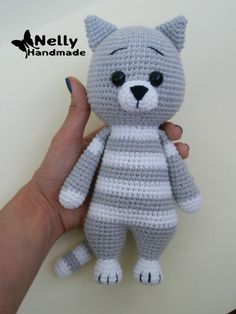Baby Knitting Patterns Toys Mika the Cat Crochet Amigurumi Toy by NellyHM on Etsy Crochet Animal Patterns, Stuffed Animal Patterns, Baby Knitting Patterns, Crochet Animals, Gato Crochet, Crochet Baby, Knitted Dolls, Crochet Dolls, Crochet Crafts