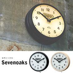 掛け時計時計壁掛けウォールクロック壁掛け時計アンティークおしゃれかわいい間接照明時計型照明黒白大きいシンプルレトロブルックリン西海岸風カリフォルニア男前アメリカン雑貨カフェインテリアステップムーブメントプレゼント新築祝い