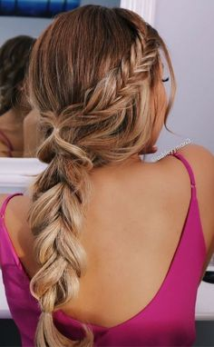 messy braid pull through braid fishtail braid stacked braids blonde ombre blonde caramel blonde summer hairstyles valentines day hairstyles simple glam Valentine's Day Hairstyles, Box Braids Hairstyles, Fishtail Braid Hairstyles, Simple Curly Hairstyles, Trendy Hairstyles, Hairstyle Ideas, Fishtail Braid Wedding, Beach Hairstyles For Long Hair, Gorgeous Hairstyles