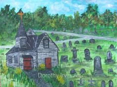 Old Church with Red Doors in a Cemetery by dotsloft for $20.00