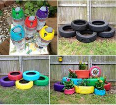 rainbow tyre garden planters