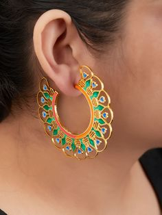 The Loom- An online Shop for Exclusive Handcrafted products comprising of Apparel, Sarees, Jewelry, Footwears & Home decor. Antique Jewellery Designs, Fancy Jewellery, Silver Ring Designs, Body Jewellery, Stylish Jewelry, Fashion Jewelry, Gold Jhumka Earrings, Jewelry Design Earrings, Fabric Earrings