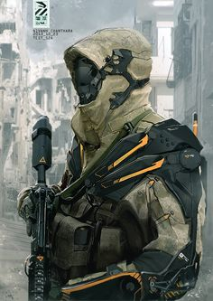 SNIPER - Really refined and sleak looking exoskeleton, like the combination of hood and mask too, looks like a character who doesn't want to be seen easily. So might be a good look for the Sniper.