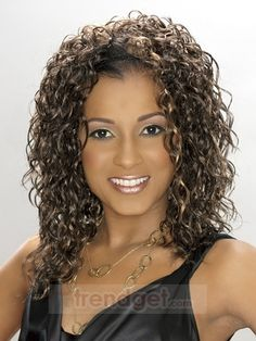 Medium Wavy / Curly Brown Full Lace Wigs For Black Women 100% Indian Remy Hair