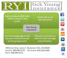Call us today to speak with a live representative and get a free quote!   http://www.rickyounginsurance.com/#RickYoung #Rick #Young #ForeverYoung #Insurance #HealthInsurance #Michigan #MichiganHealthInsurance #LiveRepresentative #Speak #FreeQuote #Today #CallUs #Facebook #Twitter #LinkedIn #Group #SlideShare #GoAnimate #Pinterest #Flickr #Photobucket #YouTube #Follow #Add #Subscribe #LinkedInGroup