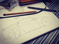 """@alannotes: """"Trabalho em andamento croqui de uma Ferrari #alannotes #ferrari #draw #croqui #sketch #drawing #ink #grafite #pencil #nankin #conceito #concept #desenho #estudo"""""""