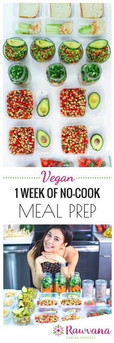 NoCook Vegan Meal Prep One of the big myths I hear is that going vegan takes too much time Well guess what You can save time by prepping a weeks worth of meals in advanc. Vegetarian Meal Prep, Vegan Meal Plans, Healthy Meal Prep, Vegetarian Detox Plan, Healthy Cooking, Vegetarian Recipes, Raw Food Recipes, Cooking Recipes, Healthy Recipes