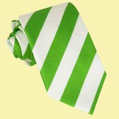 White Lime Green Stripes Formal Boys Ages 7-13 Wedding Straight Boys Neck Tie