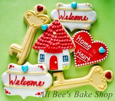 Home Warming Cookies      Ali Bee's Bake Shop Red, White Brown, house, heart, key Miscellaneous