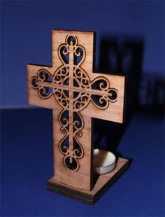 Laser engraved wooden cross candle holder Scroll Saw Patterns, Cross Patterns, Laser Cutter Projects, Laser Art, Wooden Crosses, Cross Crafts, Wooden Crafts, Handmade Home Decor, Candle Making