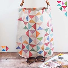 Colourful, patterned linen tote bag with leather handle - perfect as a market bag, beach bag, work bag - a real everyday bag. #bag #everydaybag #patternedbag #tote #marketbag #beachbag