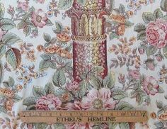 3 yds Vintage Roses Pillar Print Colonial Americana Revival Cotton Quilt Fabric   eBay Vintageblessings