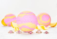 Flamingo Bath Bomb - Pink & Rose Gold Ring Collection Pink Stone Rings, Gold Rings, Bath Candles, Pink Bubbles, Bird Feathers, Bath Bombs, Pretty In Pink, Flamingo, Flamenco