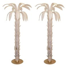 """Pair of Floor Lamps """"Palm"""" Murano Glass Opalescent, circa 1970, Italy 