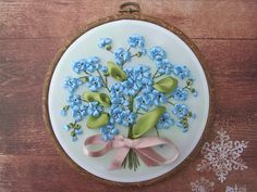 Wall Art – Ribbon Embroidery Hoop Art - Forget-me-not – a unique product by LITTLEbigBoutique on DaWanda
