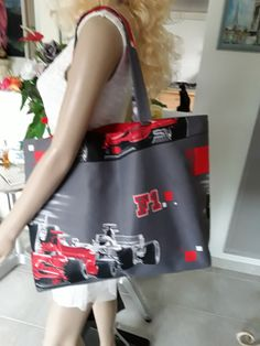 0b6bc9f45d Borsa 607 grey synthetic printed denim of a race of Ferrari (red and gray)  lined with 2 pockets