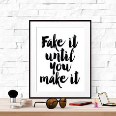 Funny dorm wall art, Funny bathroom signs, Funny dorm print, Best selling prints, Fake it until you make it, Top selling items