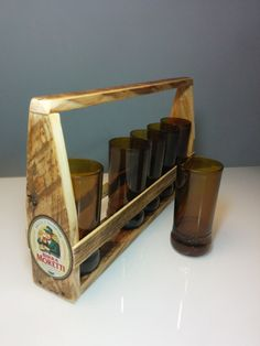 handmade six glasses cut from moretti beer di GARAGEbySilvio