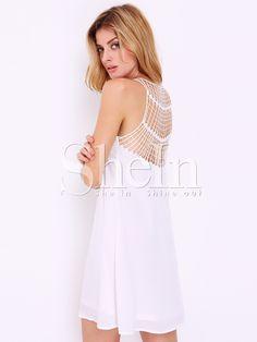 White Sleeveless V Neck Hollow Dress 11.99