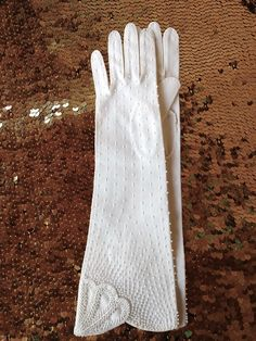 Vintage 1960s Gloves 50s Evening Gloves Formal Beaded White Cotton Sz 7