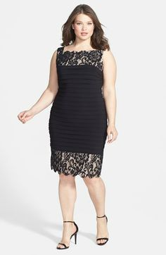 Betsy & Adam Lace Trim Shutter Pleat Sheath Dress (Plus Size) available at #Nordstrom