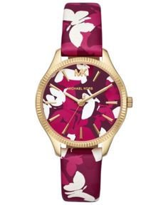 b77c145aaa40 Michael Kors Women s Lexington Pink Camo Butterfly Leather Strap Watch 36mm  - Gold
